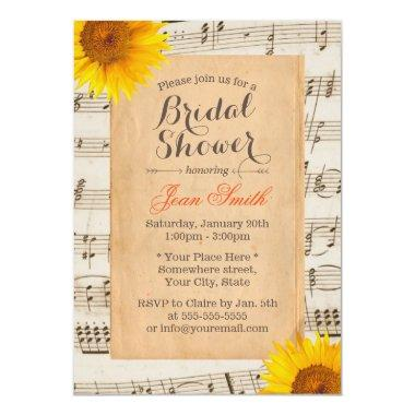 Sunflower & Music Sheet Vintage Bridal Shower Invitations