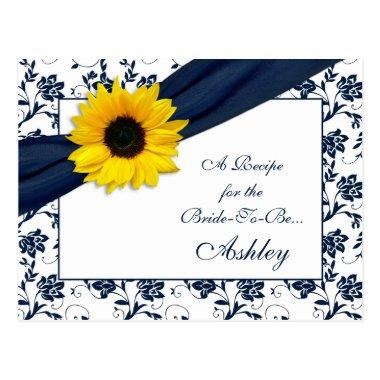 Sunflower Navy Damask Recipe Invitations for the Bride