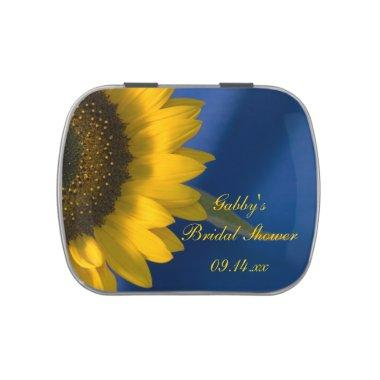 Sunflower on Blue Bridal Shower Favor Jelly Belly Candy Tin