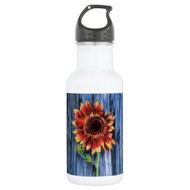 Sunflower on Blue Fence Stainless Steel Water Bottle