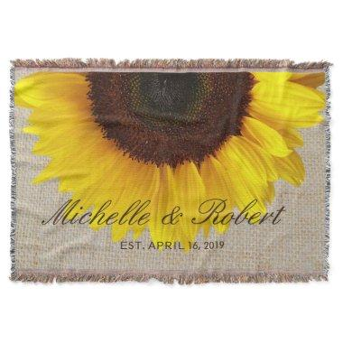 Sunflower on Burlap Rustic Country Wedding Custom Throw