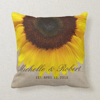 Sunflower on Burlap Rustic Country Wedding Custom Throw Pillow