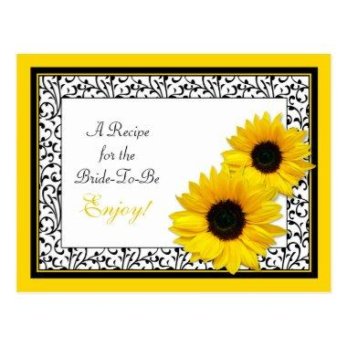 Sunflower Recipe Invitations for the Bride to Be