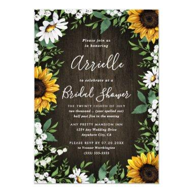Sunflower Rustic Country Floral Bridal Shower Invitations