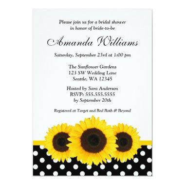 Sunflower White and Black Polka Dot Bridal Shower Invitations