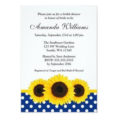 Sunflower White and Blue Polka Dot
