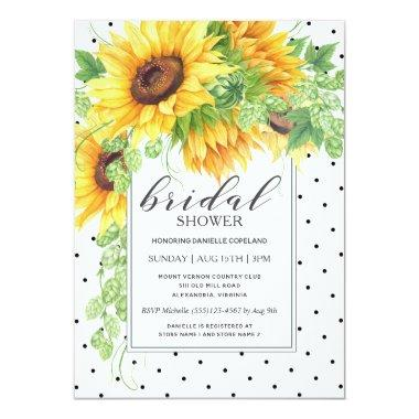 Sunflowers and Polka Dots Floral Bridal Shower Invitations