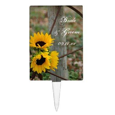 Sunflowers and Wagon Wheel Country Western Wedding Cake Topper