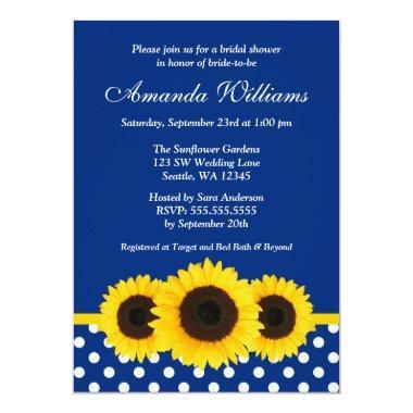 Sunflowers Blue and White Polka Dot