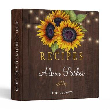 Sunflowers bouquet barn wood rustic recipes binder