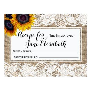 Sunflowers burlap and lace bride to be recipe Invitations