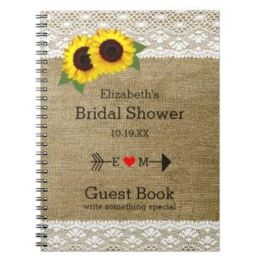 Sunflowers Burlap Lace  Guest Book |