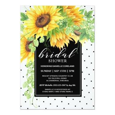 Sunflowers Floral and Polka Dots Bridal Shower Invitations