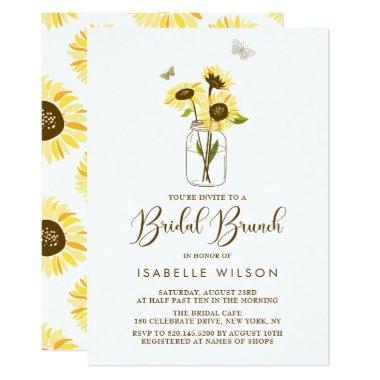 Sunflowers on Mason Jar Summer Bridal Brunch