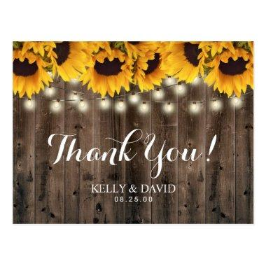 Sunflowers String Lights Country Wedding Thank You PostInvitations