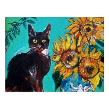 SUNFLOWERS WITH BLACK CAT IN BLUE TURQUOISE POSTInvitations