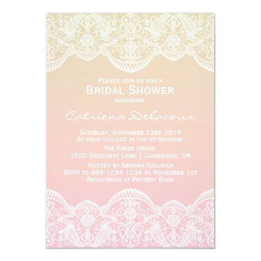 Sunset Ombre Lace Pattern Bridal Shower Invitations