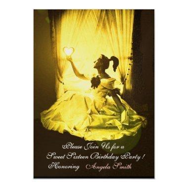 SWEET16 BIRTHDAY PARTY YELLOW BLACK DAMASK Gold Invitations