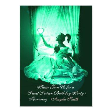 SWEET 16 PARTY,GREEN BLACK DAMASK Invitations