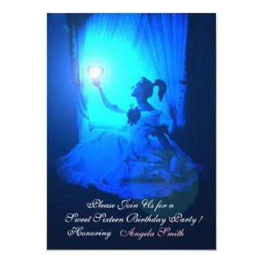 SWEET 16 PARTY,SAPPHIRE BLUE ,BLACK DAMASK Invitations