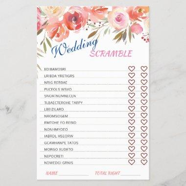Sweet Blush Roses Watarcolor Bridal Shower Game