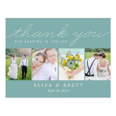 Sweet Collage Wedding Thank You  - Aqua