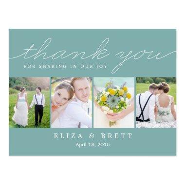 Sweet Collage Wedding Thank You  - Aqua
