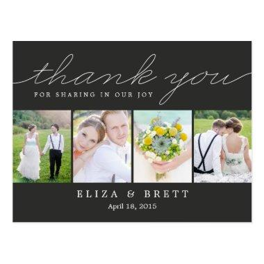 Sweet Collage Wedding Thank You Invitations - Charcoal