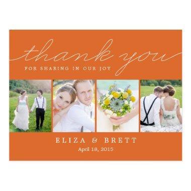 Sweet Collage Wedding Thank You  - Orange