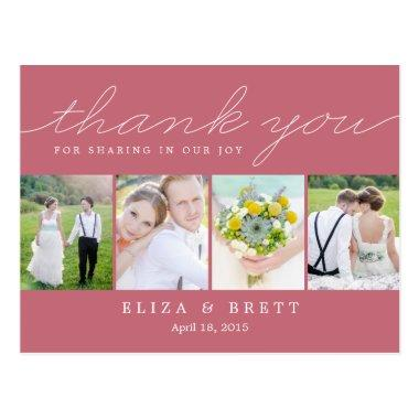 Sweet Collage Wedding Thank You Invitations - Pink