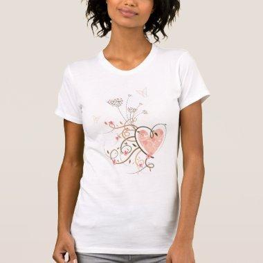 Sweet Heart & Butterfly Swirls Custom T-shirt