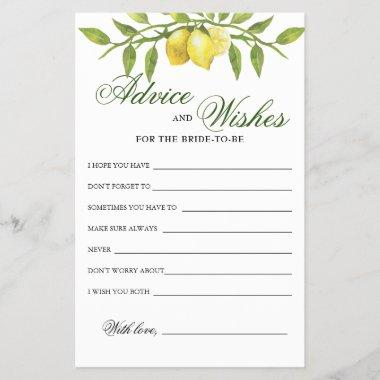 Sweet Lemons & Greenery Advice and Wishes Invitations