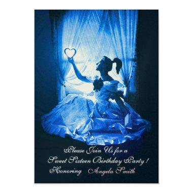 SWEET SIXTEEN PARTY,BLUE BLACK DAMASK Champagne Invitations