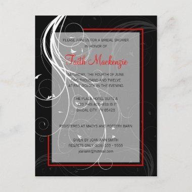 Swirl Black and Red Wedding Shower