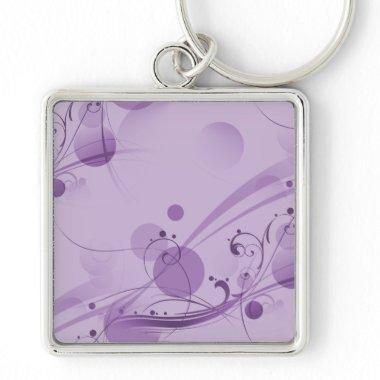 SWIRLS AND CIRCLE DOTS LIGHT PURPLE KEYCHAIN