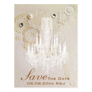 swirls chandelier vintage wedding save the date post
