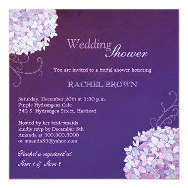 Swirly Hydrangea Deep Purple Wedding Shower Invitations