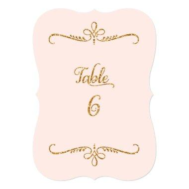Table Number 6, Fancy Script Lettering Receptions