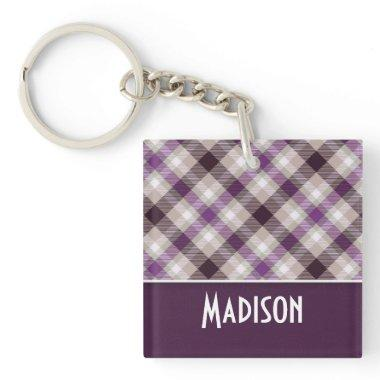 Tan & Purple Plaid Keychain