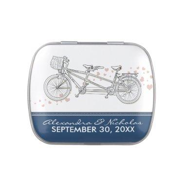 Tandem Bicycle Custom Wedding Favor Tins (navy) Candy Tins