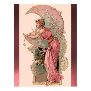 TAROTS / LADY OF THE MOON WITH FLOWERS IN PINK POSTInvitations