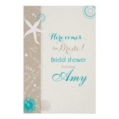 Taupe Ivory Teal Beach Bridal Shower Sign Poster