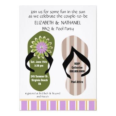 (TBA)Flippin Out Couples Wedding Shower Pool Party Invitations