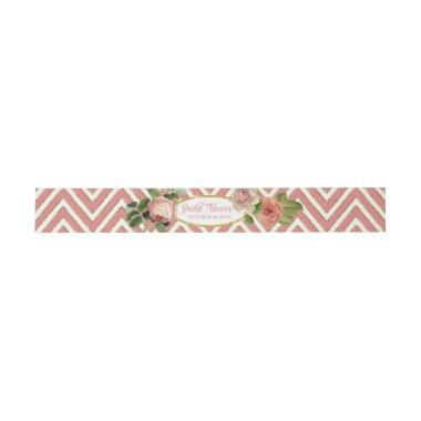 Tea Party Bridal Shower Chevron Stripes Rose Invitations Belly Band