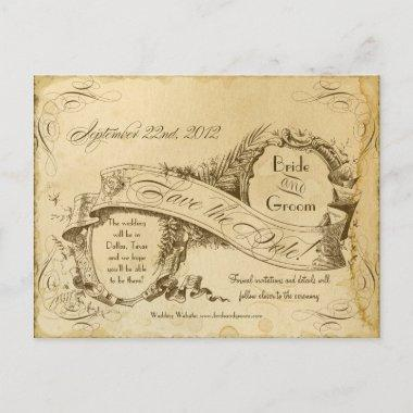 Tea Stained Vintage Wedding 1 - Save the Dates Announcement Post