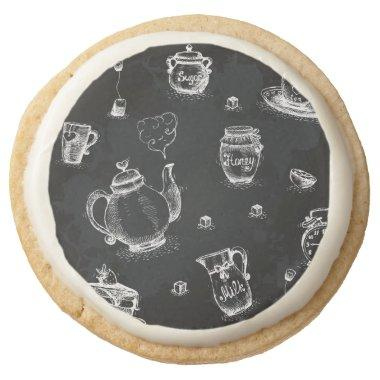 Tea Time Black Round Shortbread Cookie