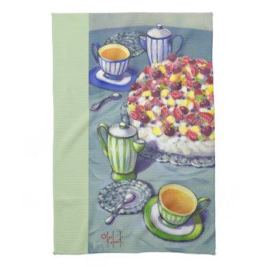 Tea with Pavlova Cake Tea Towel