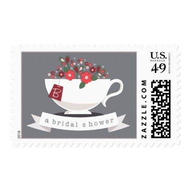 Teacup & Coral Floral Personalized  Postage