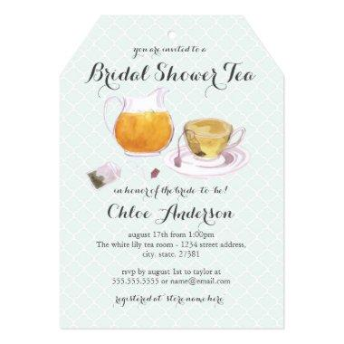 Teacup Mint Bridal Shower Tea Party Invite
