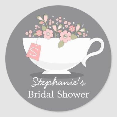 Teacup Pink Floral Monogram  Sticker